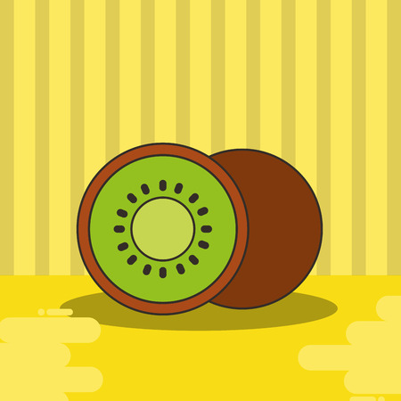 kiwi fresh fruit tasty yellow background vector illustration Ilustração