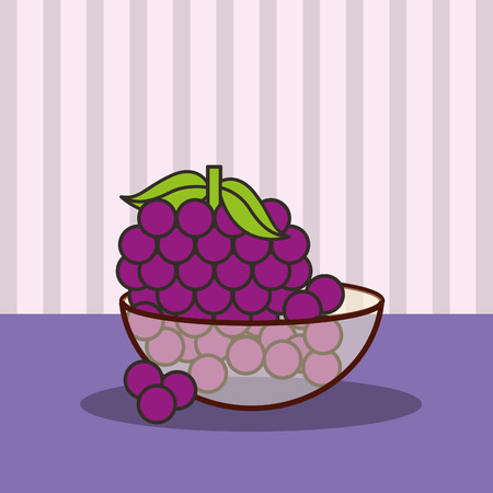 crystal bowl with bunch grapes fresh vector illustration