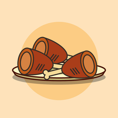 dish with chicken legs fast food vector illustration