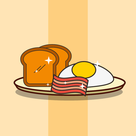 breakfast on dish fried egg bacon and bread vector illustration