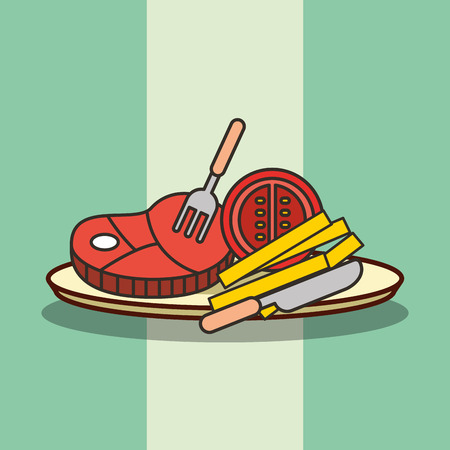 fast food hot dog french fries and bacon vector illustration Standard-Bild - 101681161