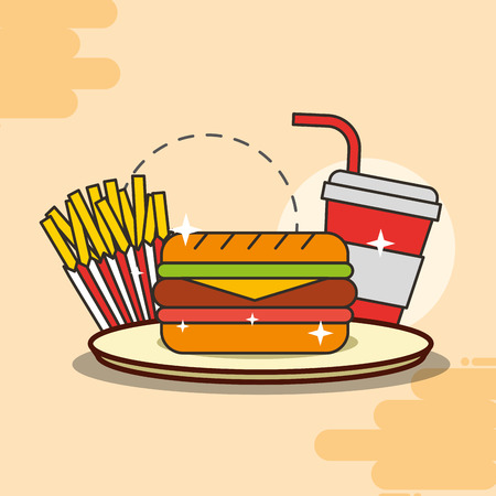 sandwich french fries and soda fast food vector illustration Illustration