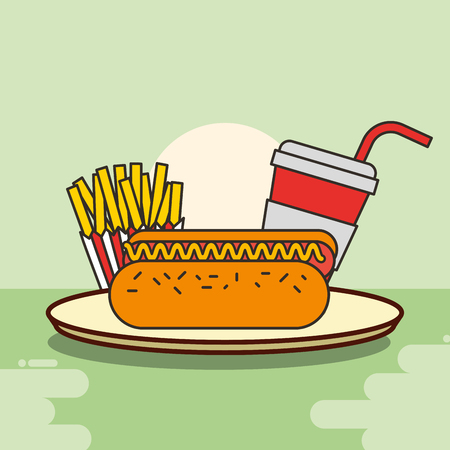 hot dog french fries and soda fast food vector illustration