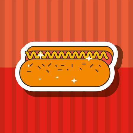 fast food hot dog delicious unhealthy vector illustration Illustration