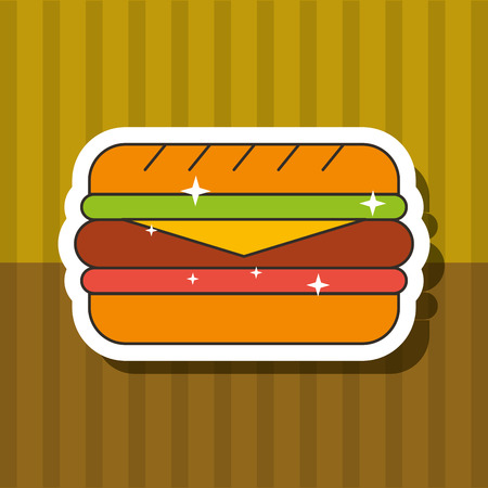 fast food sandwich bread cheese ham vector illustration Illustration