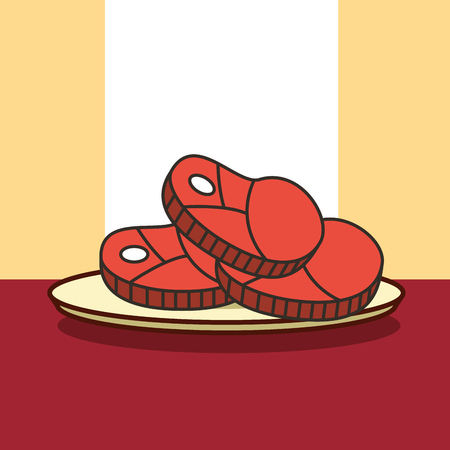 cuts pieces of meat on dish vector illustration
