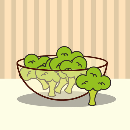 glass bowl with fresh broccoli vector illustration