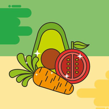 avocado tomato and carrot vegetables healthy food vector illustration Stok Fotoğraf - 101681215