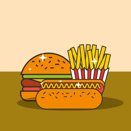 fast food burger hot dog and french fries vector illustration