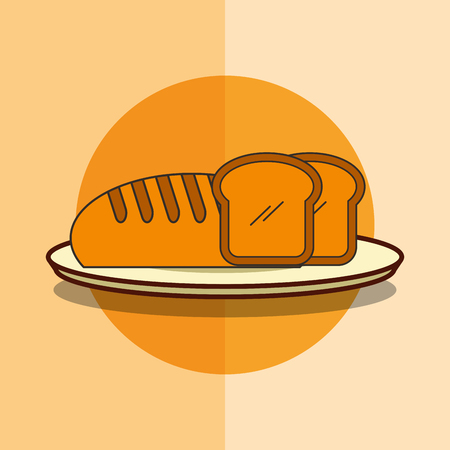fresh bread bakery product in dish vector illustration