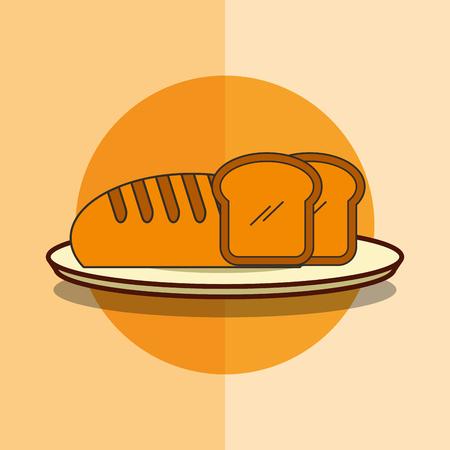 fresh bread bakery product in dish vector illustration