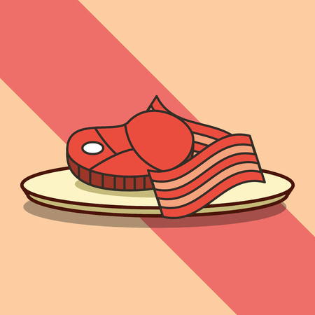 food fresh meat and bacon on dish vector illustration Ilustração