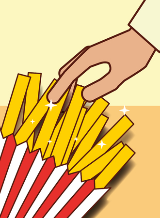 hand with french fries menu restaurant vector illustration
