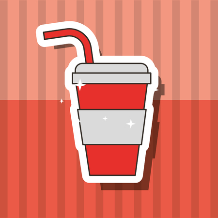fast food beverage soda in paper cup with straw vector illustration