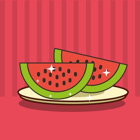sliced watermelon fresh fruit tasty vector illustration