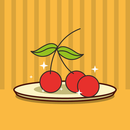 bunch cherry on dish fresh fruit tasty vector illustration