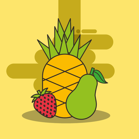 pineapple strawberry and pear fresh delicious vector illustration Ilustração