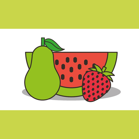 pear watermelon and strawberry fresh delicious vector illustration