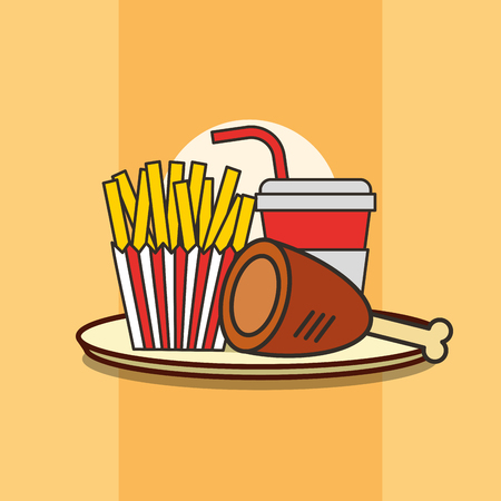 fast food chicken leg french fries and soda vector illustration Standard-Bild - 101681295