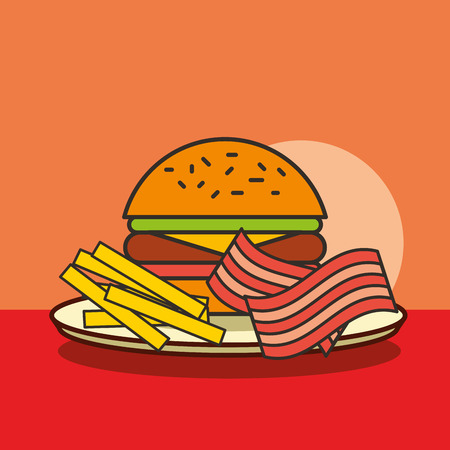 fast food burger french fries and bacon vector illustration Illustration