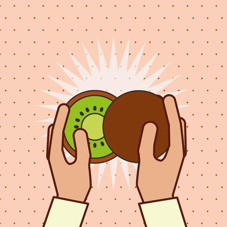 hand holding fresh fruit kiwi vector illustration
