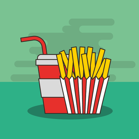 fast food french fries and soda in cup straw vector illustration