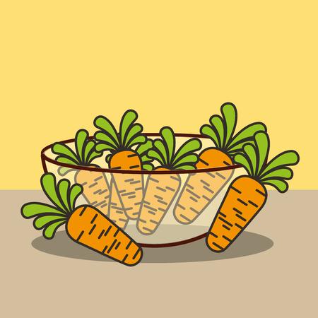 glass bowl with fresh carrots vector illustration Archivio Fotografico - 101681368