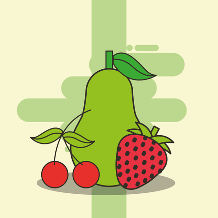 pear cherry and strawberry fresh delicious vector illustration