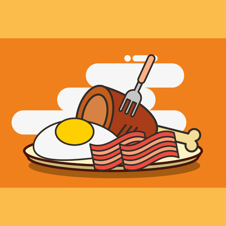 fast food chicken bacon and fried egg vector illustration vector illustration Standard-Bild - 101681374