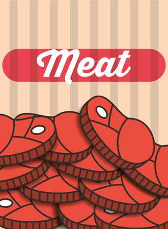 meat steak pieces menu restaurant poster vector illustration