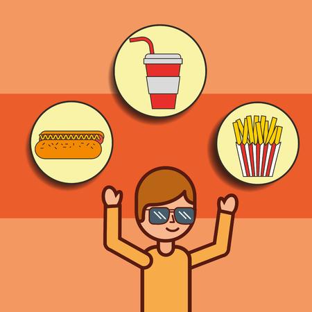 boy cartoon with fast food hotdog soda french fries vector illustration Illustration