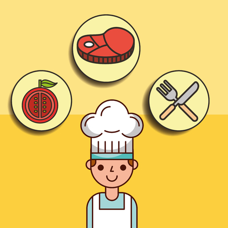 boy chef cartoon with meat tomato and fork knife vector illustration Stock Illustratie