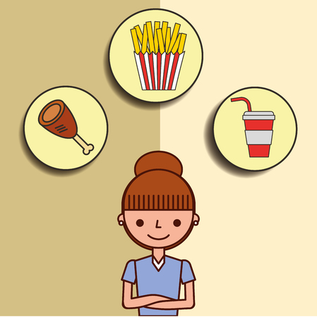girl cartoon and fast food chicken soda french fries vector illustration Illustration