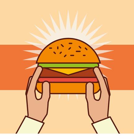 hand holding hamburger fast food vector illustration