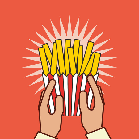 hand holding french fries fast food vector illustration Ilustração