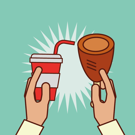 hand holding chicken and soda vector illustration Illustration