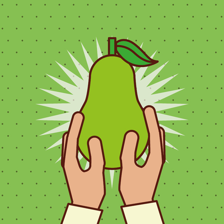 hand holding fresh fruit pear vector illustration