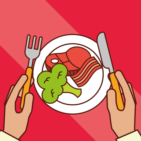 hands holds fork knife bacon meat broccoli dinner on dish vector illustration Archivio Fotografico - 101684650