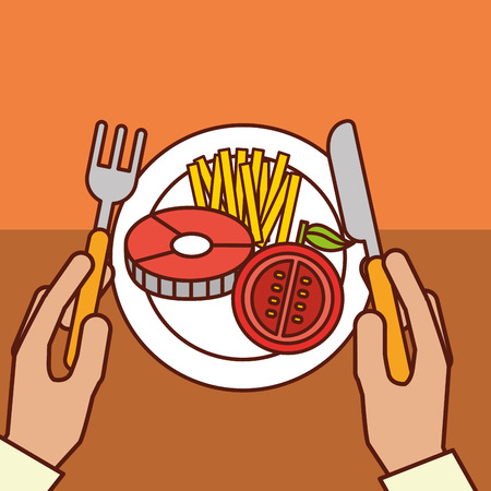 hands holds fork knife fish tomato french fries dinner on dish vector illustration