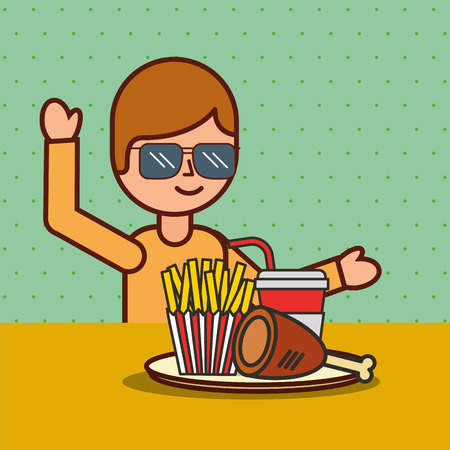 boy cartoon eating french fries chicken and soda vector illustration