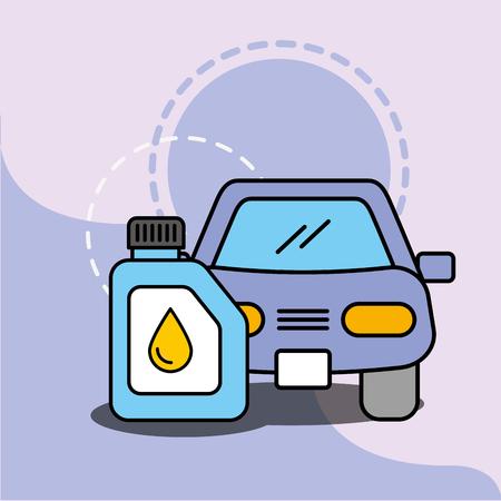 Ilustración de vector de aceite de motor de vehículo de mantenimiento de servicio de coche