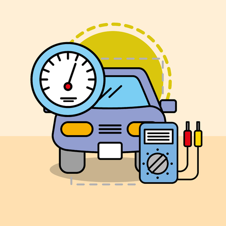 car maintenance electrical service speedometer vector illustration Иллюстрация