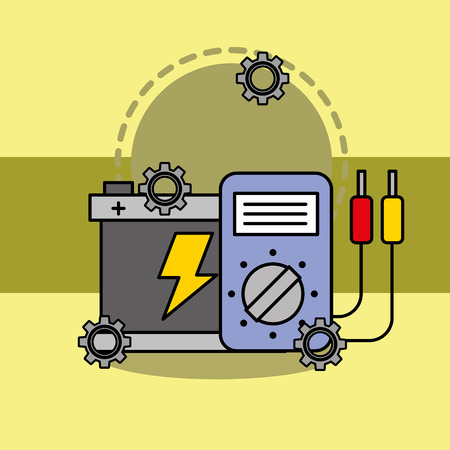 car service maintenance battery and electrical technician vector illustration