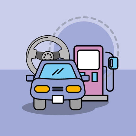 car service maintenance steering wheel and pump gasoline vector illustration Illustration