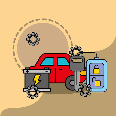 car service maintenance battery remote key system vector illustration