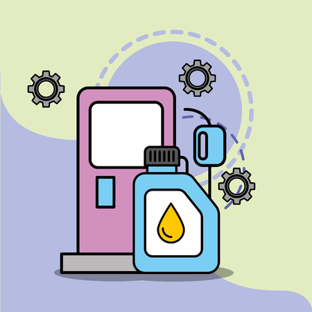 car service maintenance pump gasoline station engine oil vector illustration