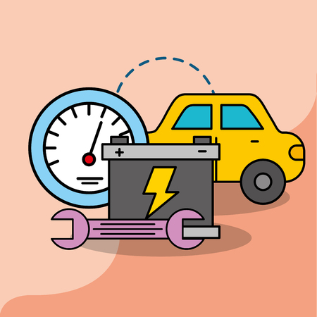 car service maintenance battery wrench speedometer vector illustration Ilustração