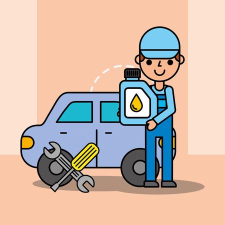 auto mechanic engine oil wrench screwdriver tool service maintenance vector illustration