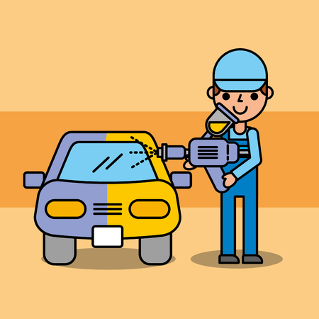 auto mechanic painting car equipment service vector illustration