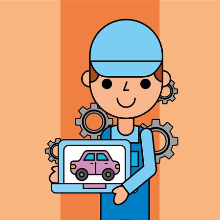 worker holding tablet car service maintenance app vector illustration Иллюстрация